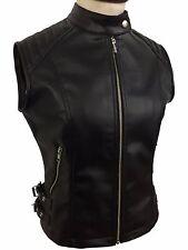 Sexy Womens Ladies Real BLACK SHEEP LAMB Leather Bikers Waistcoat Vest-12