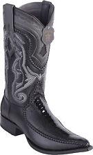 LOS ALTOS BLACK GENUINE OSTRICH LEG 3X TOE WESTERN COWBOY BOOT EE