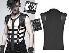 T-shirt zippé haut veste gothique punk cyber bondage cage sangle PunkRave Homme