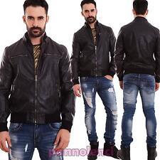 Giubbotto uomo giacchetto giubbino giacca ecopelle polsini biker nuovo NZ3111