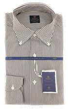 New $600 Luigi Borrelli Brown Shirt - Extra Slim - (EV06400460STEFANO)