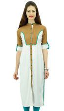 Phagun Women Rayon White Kurta Mandarin Collar Casual Indian Ethnic Wear