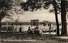 Bad Saarow-Pieskow - Schwanenwiese mit Schiffs-Anlegestelle, Foto-Ansichtskarte