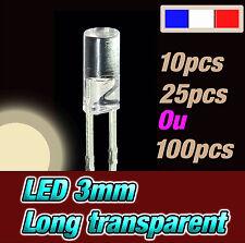 215BC# LED 3mm cylindrique long blanc  chaud dispo 10, 25 ou 100pcs