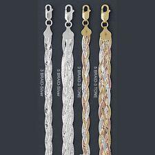 "ITALY BRAIDED Silver HERRINGBONE Chain Necklace/Bracelet MAGIC FLEX 7""~20"""