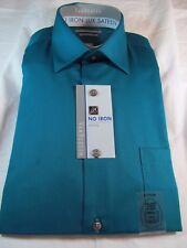NWT VAN HEUSEN NO IRON LUX SATEEN DRESS SHIRT Slim Fit, Bermuda Green Solid
