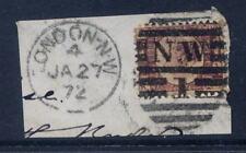 GB QV 1870 1/2d BANTAM Pl.8 VFU PIECE.LONDON NW1 DUPLEX