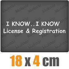 I know License & Registration csf0401 20 x 5 cm JDM Sticker Adhesivo