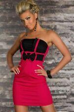 Dear-lover 2909 Wunderbares trägerloses Minikleid mit Schleife in rosa