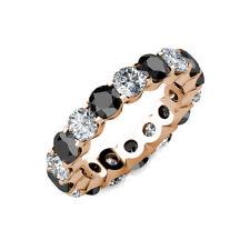 2.00 Carat White & Black Diamond Full Eternity U Band Bridal Ring 14K Rose Gold