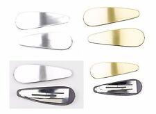 Large Snap Hair Clip Bendies Clips Grip Matte GOLD & SILVER  Pair-eb