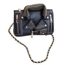 230321a8f Remache 3D Bolsa de Hombro Bolsos de mujer PU Chaqueta de motorista  mensajero cruzada de cadena