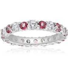 2 CT Diamond & Pink Topaz Eternity Womens Wedding Ring 14K White Gold Band