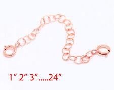Solid Sterling Silver PINK / ROSE Round Link Extender Chain Necklace Bracelet