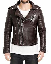 Men's Genuine Lambskin Real Leather Motorcycle Jacket Slim fit Biker Jacket JM11