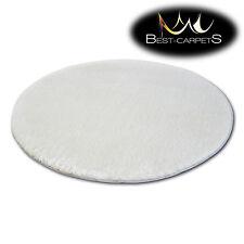 "incroyable doux & épais Tapis POILU cercle "" MICRO "" Polyester Blanc Haute"