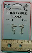 DOLPHIN Gold Treble Hook Size 14 Qty(4) PB2863