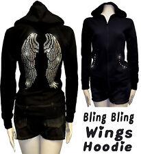 Angel Wings Rhinestone Hoodie Sweater Full Zip-Up Closure Jr. Size SML1X2X3X