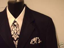 Damask Necktie Set  Men Dandy Black White Wedding Tie