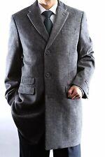 Men's Single Breasted Gray Luxury Wool Three Quarter Length Topcoat