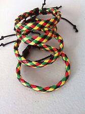 Handmade Multicolour Plaited Leather Adjustable Unisex Friendship Bracelets