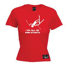 I Do All My Own Stunts Ski WOMENS Powder Monkeez UK T-SHIRT birthday gift skiing