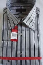 High Fashion 2-Button Collar Gray & Black Stripe F/C Shirt by Leonardi # 003