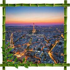 Adesivo Cornice Bambù Parigi la notte 7184