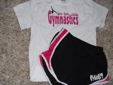"Gymnast running shorts with a"" Gymnastics live, love breathe"" t-shirt"