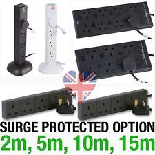 Extension Leads Cables 2m 5m 10m 15m 4 6 8 USB Gang Sockets SURGE Black/White