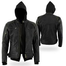 Black Tab The Craig Nubuck Waxed Black Leather Motorcycle Armoured Hoodie Jacket