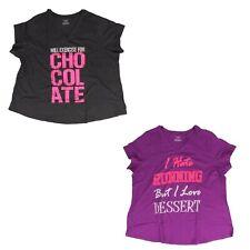 Tek Gear Gym Yoga V-Neck T-Shirt Plus Size Hate Running Love Dessert Chocolate