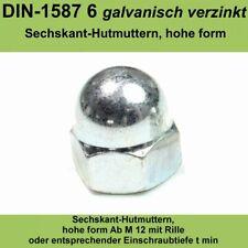 M10 DIN 1587 Hutmuttern Sechskantmuttern A2 Edelstahl V2A VA hohe Form 20-500 St