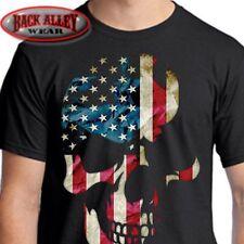 AMERICANA SKULL T-SHIRT Biker Tee ~ Patriotic ~ 'Merica USA Pride American Flag