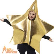 Child Shining Gold Star Costume Christmas Nativity Boys Girls Fancy Dress Outfit