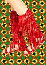 S38✪ 60er 70er Jahre Hippie Fransen Sandalette Schuhe Indianer Festival rot