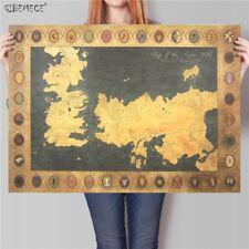 Game of Thrones World map Vintage Movie Kraft Paper Poster Classic retro Home de