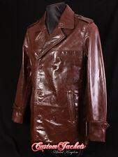 Men's mobster brown d'agneau mi-distance cuir véritable veste réfrigérées