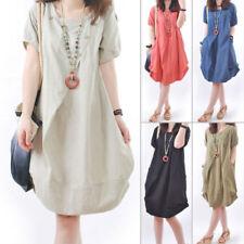 Plus Size Women  Loose Dress Cotton Linen Tunic Summer Long Beach Sundress AU