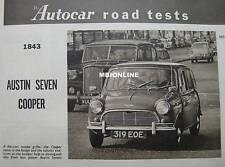 1961 Austin Seven Mini Cooper Original Autocar magazine Road test