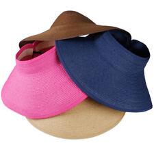 Women's Wide Brim Rollable Sun Visor Kbigstore Roll-Up Sun Hats Straw Beach Hats