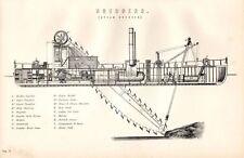 1880 PRINT DREDGERS (STEAM) DERRICK CRANE ETC