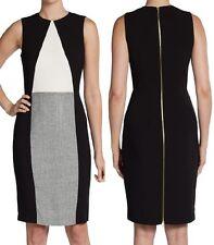 Calvin Klein CD4X16T4 Black/Cream Tweed Stretch Sheath Dress w/Exposed Zip $128