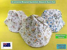 New Womens Mixed Flower Pattern Round Summer Beach Sun Hat Cap (B24)