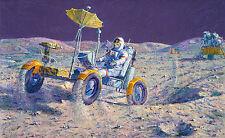 Alan Bean LUNAR GRAND PRIX, Moon Rover Apollo 16, John Young giclee canvas A/P