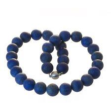 Perlenkette Edelstein Perlen Lapislazuli 14 mm matt Edelstahl Magnetverschluss