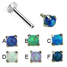 1,2mm Titan eingefasste Synthetik Opal Perle Ohr Helix Tragus Piercing Labret