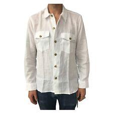 DRAKE'S camicia uomo lino doppio taschino bianco mod SHI-SE0HSH MADE IN ENGLAND