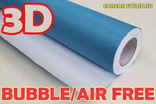 【LIGHT BLUE 0.3m(11.8in)x1.52m】3D CARBON FIBRE Vehicle Wrap Vinyl Sticker