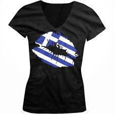 Greek Flag Colors Greece Lipstick Kiss Lips Heritage GRC Juniors V-Neck T-Shirt